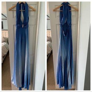 EUC Betsy & Adam Blue Ombré Backless Prom Dress 4